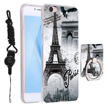 3 in 1 Cute Phone Case 3D Relief Pattern Back Cover for VIVO Y55with Phone Lanyard