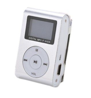 32GB Micro SD Support Mini MP3 Player Clip USB FM Radio LCD Screen (Silver) - Intl