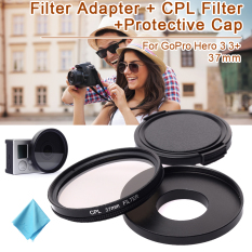37mm CPL Filter Set Adapter + CPL Filter + Lens Cap For GoPro Hero 3 3.4 - Intl