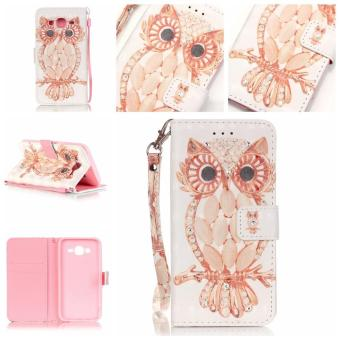 3D Pattern Leather Case for Samsung Galaxy J5 (2015) Flip WalletCard Pouch Glitter Bling Stand Cover Shell Owl - intl