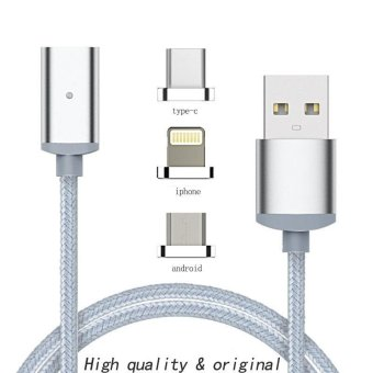 3in 1 Fast Charging Data Sync Newest 1m Nylon magnetic Cable Micro Usb C Charger forIPhone 5 6 6s 7 7plus Android type-c Phone - intl