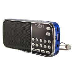 3pcs Rechargeable Mini LCD Digital FM Radio Speaker USB TF Card Mp3 Music Player Gift Drak Blue
