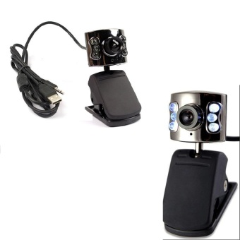 6 LED High Definition Free Driver USB Webcam Laptop PC Computer Camera Microphone (Black)