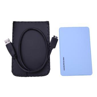 6.35 cm USB 3.0 SATA kotak HD HDD harddisk eksternal lampiran kasus (Biru)