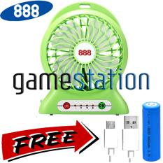 888 Kipas Angin Power Bank Portable Mini Fan 3 Speed Kabel Charger .
