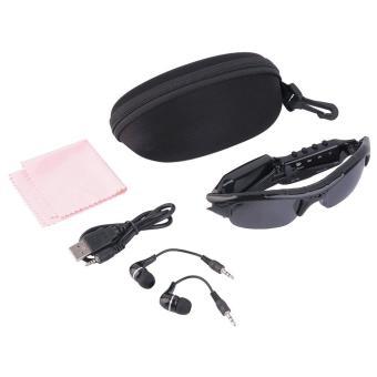 Allwin Kacamata Hitam + kamera + MP3 Player + alat pendengar 4-in-1 disebut TF DVR hd audio video perekam