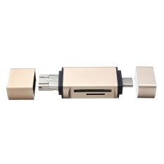 Aluminum Alloy 3 in 1 Micro SD OTG Card Reader Type C Micro USB Multi-function Memory Card Reader Adapter Gold - intl