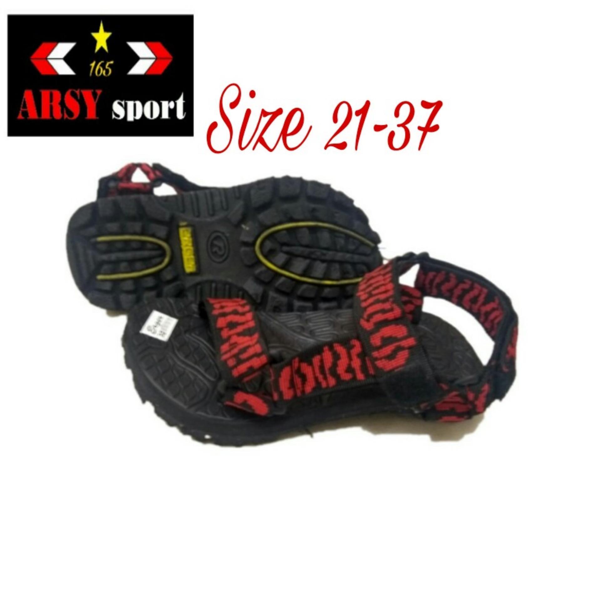 Catenzo Junior Sandal Gunung Anak Laki Laki Hitam Merah CJJ 002 Source Arsy .