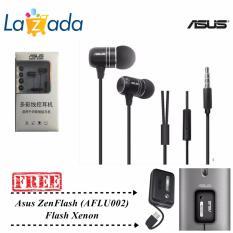 Asus Earphone ZenEar Handsfree For Aus Zenfone Jack 3.5mm + FREE Selfie Asus ZenFlash - Hitam