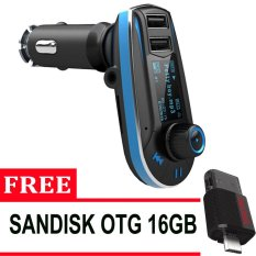 Audio Car FM MP3 Modulator With USB Charger 2.1A For Smartphone - Hitam + Sandisk OTG 3.0 16gb - Hitam