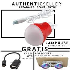 Authentic Bohlam 5 Watt Kabel USB Emergency LED Bulb - Lampu darurat Gratis Pop Socket /