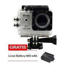 Bcare Action Camera B-Cam X-1 - 12 MP -1080 P - Silver + Free Li-ion Battery 900 mAh 3.7V
