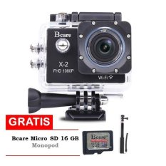 Bcare Action Camera B-Cam X-2 Wifi - 12 MP Full HD 1080P - Hitam + Gratis SD Card 16GB Class 10 + Monopod