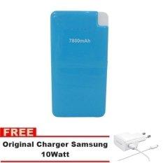 Bcare Power Bank 7800mAh Micro USB Output Cable - Biru + Gratis Charger Samsung 10Watt