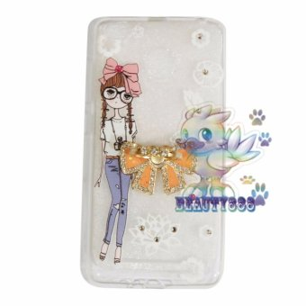 Beauty Case For Xiaomi Redmi 3X Softshell Animasi Cute Girl With Glasses + Holder Ring Tape