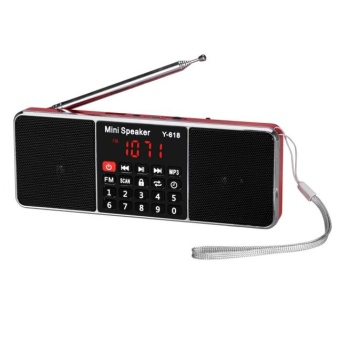 Bigskyie Portable Digital LCD FM Radio Stereo Audio Speaker MP3 Music Player USB AUX TF Red Free Shipping
