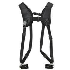 Black Double Shoulder Sling Belt Quick Rapid Strap For 2 DSLRDigital SLR Camera