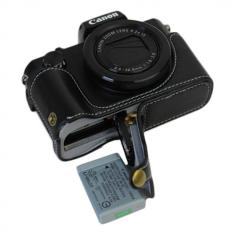 Bottom Opening Versio Protective Genuine Real Leather Half CameraCase Bag Cover With Tripod Design For Canon PowerShot G5 X G5xCamera With Genuine Real Leather Hand Strap Black