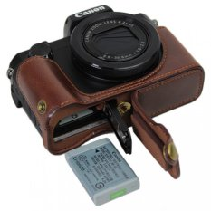 Bottom Opening Version Protective PU Leather Half Camera Case BagCover With Tripod Design For Canon PowerShot G5 X G5x Camera WithPU Leather Hand Strap Dark Brown