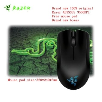 Brand new 100% original Razer Abyssus Optical Gaming Mouse 3500DPIfree mouse pad brand new boxes Rechargeable Mause Ergonomic PCComputer Peripherals - intl
