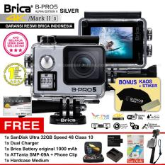 BRICA B-PRO 5 Alpha Edition Mark IIs (AE2s) WIFI 4K SILVER + ATTanta SMP-09A + Phone Clip + Battery Brica 1000mAh + Dual Charger + SanDisk 32GB Class 10 + Hardcase Medium + Kaos Brica + Sticker BPRO5