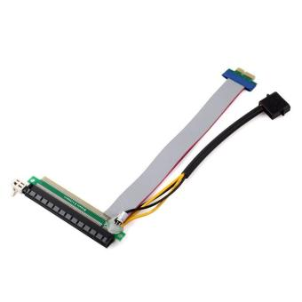 BUYINCOINS PCI Express PCI-E 1X To 16X Riser Card Flex Extension Cable + Power Connector