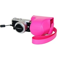 Camera Bag Case PU Leather Case For Digital Camera Panasonic Lumix GM1 GM2 GM5 With Strap Rose Red