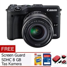 Canon EOS M3 24.2 MP Digital Camera with EF-M 15-45mm F3.5-5.6 IS STM Lens Black Free Memory Card, Screen Guard, dan Tas Camera