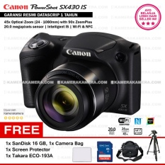 Canon PowerShot SX430 IS - WiFi 20MP 45x Optical Zoom (Resmi) + SanDisk 16gb + Screen Protector + Bag + Takara ECO-193A