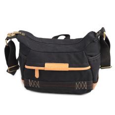 Canvas Camera Bag Men And Women Shoulder Bag Leisure Camera BagSmall Size Black