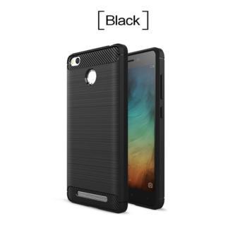 Carbon Fiber Anti-drop TPU Soft Phone Cases For Xiaomi Redmi 3X - Hitam +