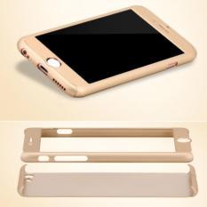 Case 360 Full Body Hardcase Depan Belakang Free Tempered Glass iPhone 6/6S (Gold