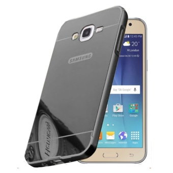 Case Aluminium Bumper with Mirror Back Cover for Samsung Galaxy J5 2015 - Black