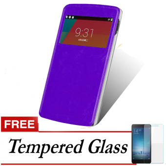 Case Flip Cover for Oppo Oppo Joy R1001 - Ungu + Gratis TemperedGlass