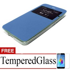 Case Flipcover For Samsung Galaxy A3 + Free Temperedglass - blue