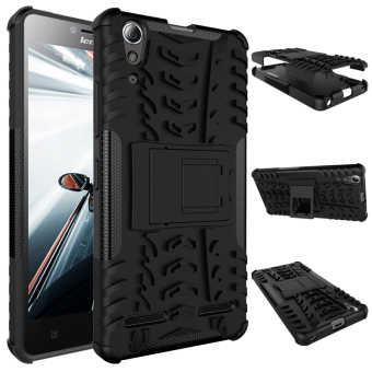 Case for Lenovo A6000 Plus High Impact Shockproof Case withKickstand - Black
