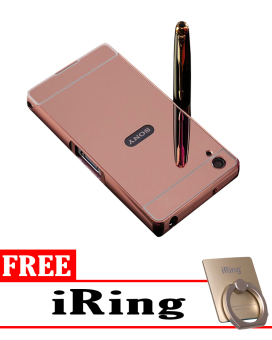 Case for Sony Xperia Z1 Aluminium Bumper With Mirror Backdoor Slide Rose Gold .