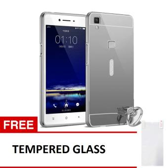 Case For Vivo V3 Bumper Slide Mirror - Silver + Free Tempered Glass