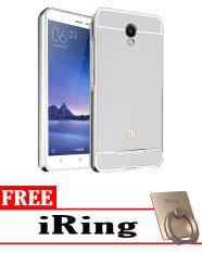 Case for Xiaomi Redmi Note 2 Aluminium Bumper With Mirror Backdoor Slide Silver .