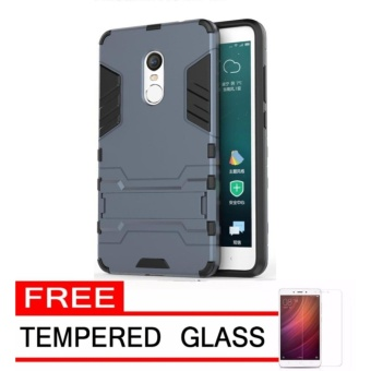 Case Kickstand Hybrid Armor Iron Man PC+TPU Back Cover Case forXiaomi Redmi Note 4X - Silver + Gratis Tempered Glass