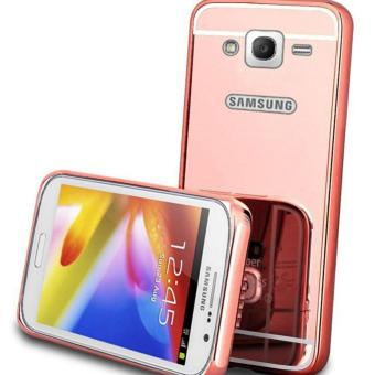 Case Metal for Samsung Galaxy J2 Prime Aluminium Bumper With Mirror Backdoor Slide - Rose Gold