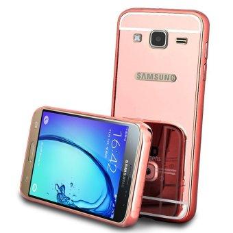 Case Mirror Aluminium Bumper For Samsung Galaxy J7 2016 - Rose Gold