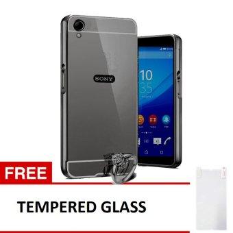 Case Sony Xperia Z1 Alumunium Bumper With Mirror Backdoor Slide -Hitam + Gratis Tempered Glass