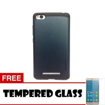 Case Xiaomi Mi4i / Mi4C Slim Armor - Biru Dongker + Tempered Glass (Navy Blue