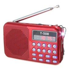 Cocotina Mini Portable LED Light Stereo FM Radio MP3 Music Player TF USB Speaker Red