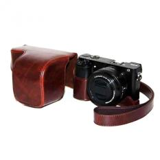 Coffee PU Leather Camera Holster Photo Shoulder Bag Case Cover For Sony A6000 - Intl