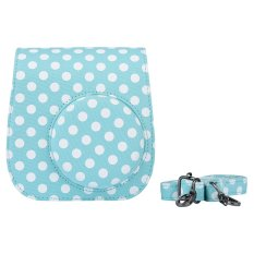 Compact Cute Lovely Canvas Protective Camera Bag Carrying Case Pouch Cover Protector Blue Wave Point Pattern W / Shoulder Strap Album Pocket For Fujifilm Instax Mini 8 + / 8s / 8