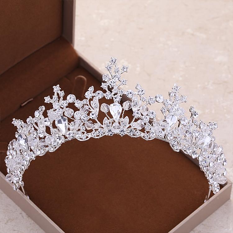 Baru Mewah Elegan Diamante Berlian Imitasi Mahkota Pesta Pernikahan Pengantin Hadiah (Silver . Source ·
