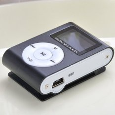 Sunweb Lcd Metal Clip Mp3 Music Player with Card Slot Mini Mp3 Player Fm Radio Black (Black) (Intl)