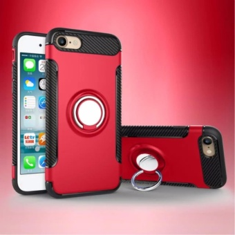 DTD Luxury Hybrid Armor Texture Case Anti-slip Carbon TPU + PC Back Cover with 360 Degree Rotating Ring Grip / Stand Holder for Apple iPhone 6plus/6s 5.5inch - intl